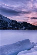 미리보기 iPhone 배경 화면 겨울, 눈, 호수, 산, 황혼, 구름
