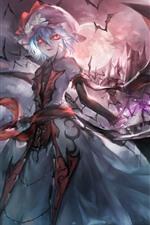 Preview iPhone wallpaper Anime girl, pink eyes, teeth, wings, bat