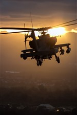 Preview iPhone wallpaper Apache AH-64 helicopter, flight, sunset