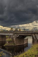 Preview iPhone wallpaper Arkhangelsk oblast, river, bridge, village, clouds, Russia