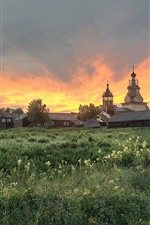 Preview iPhone wallpaper Arkhangelsk oblast, village, Church, trees, grass, morning