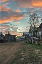 Preview iPhone wallpaper Arkhangelsk oblast, village, houses, road, dusk, Russia