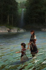 Preview iPhone wallpaper Art painting, little girl and her mother, pond, cat, trees