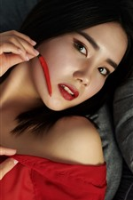 Preview iPhone wallpaper Asian girl, red pepper, look