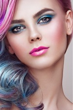 Preview iPhone wallpaper Beautiful fashion girl, hairstyle, pink hairs, face, makeup