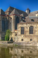 Preview iPhone wallpaper Belgium, Ghent, houses, river