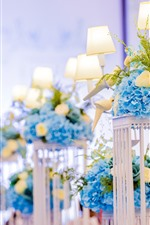 Preview iPhone wallpaper Blue flowers, lamp, decoration