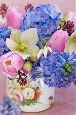 Preview iPhone wallpaper Bouquet, hellebore, snowdrops, tulips, hyacinths