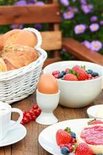 Preview iPhone wallpaper Breakfast, bread, milk, strawberry, jam