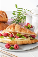 Preview iPhone wallpaper Breakfast, cheese, croissant, raspberry, flowers