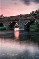 Ponte, tijolos, rio, crepúsculo