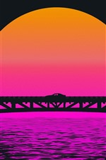 iPhone壁紙のプレビュー 橋、車、日没、アート写真