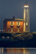 Preview iPhone wallpaper Canada, Colwood, lighthouse, night, lights, sea