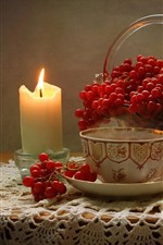 Preview iPhone wallpaper Candle, flame, berries, raspberry