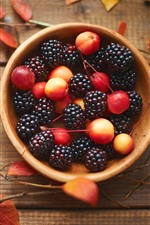 Preview iPhone wallpaper Cherry and blackberry, jam, food, leaves