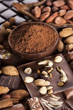 Preview iPhone wallpaper Chocolate, nuts, powder, candy