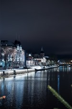 City, river, houses, lights, twigs, night