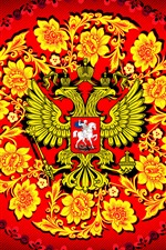 Preview iPhone wallpaper Coat of arms, flowers, eagle