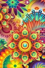 Colorful flowers, abstract design picture