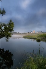 Preview iPhone wallpaper Countryside, lake, reeds, trees, houses, fog, morning