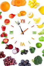 Preview iPhone wallpaper Creative clock, vegetables and fruit, white background