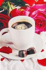 Preview iPhone wallpaper Cup, coffee, red roses, chocolate candy, gift, romantic