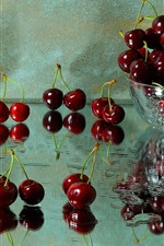 Preview iPhone wallpaper Delicious cherries, fruit, bowl, glass