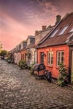 Dinamarca, aarhus, bicicleta, casas, rua