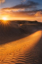 Preview iPhone wallpaper Desert, dunes, clouds, sunset, heat