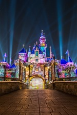 Preview iPhone wallpaper Disneyland, California, USA, colorful lights, castle, night