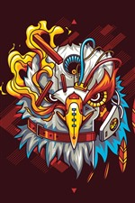 Preview iPhone wallpaper Eagle, robot, art picture