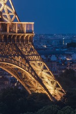 Preview iPhone wallpaper Eiffel Tower, Paris, France, night, lights, city