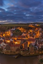 Preview iPhone wallpaper England, North Yorkshire, village, night, houses, lights, river