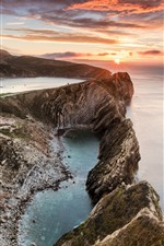 Preview iPhone wallpaper England, Stair Hole, west of Lulworth, sea, clouds, sunset