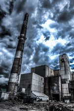 Factory, pipe, clouds
