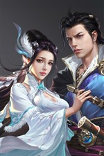 Fantasy Chinese girl and boy, art picture