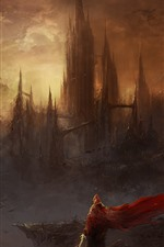 Preview iPhone wallpaper Fantasy world, art picture, castle, skyscrapers, mountains, sword, person