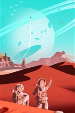 Preview iPhone wallpaper Fantasy world, planet, space, spaceship, art picture