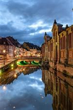 França, colmar, casas, rio, noturna, cidade, luzes