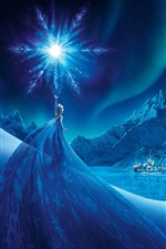 Preview iPhone wallpaper Frozen, Elsa, night, snowflake