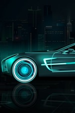 Preview iPhone wallpaper Future car, speed, neon, creative design