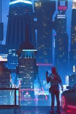 Cidade do futuro, arranha-céus, luzes, noite, garota, imagens de arte
