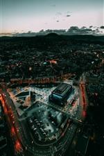 Alemanha, Baden-Wurttemberg, cidade, vista superior, noturna