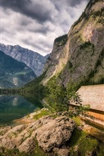 Preview iPhone wallpaper Germany, Bavaria, mountains, lake, house