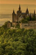Germany, castle, trees, mountain top