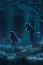 미리보기 iPhone 배경 화면 유령, 숲, 안개, 예술 사진