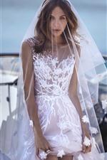 Preview iPhone wallpaper Girl, bride, white skirt, wedding