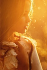 Girl, sun rays, hairstyle, warm, hazy