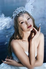 Preview iPhone wallpaper Girl, swan wings, decoration, art photography