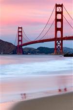 Preview iPhone wallpaper Golden Gate Bridge, San Francisco, USA, river, beach, mountains